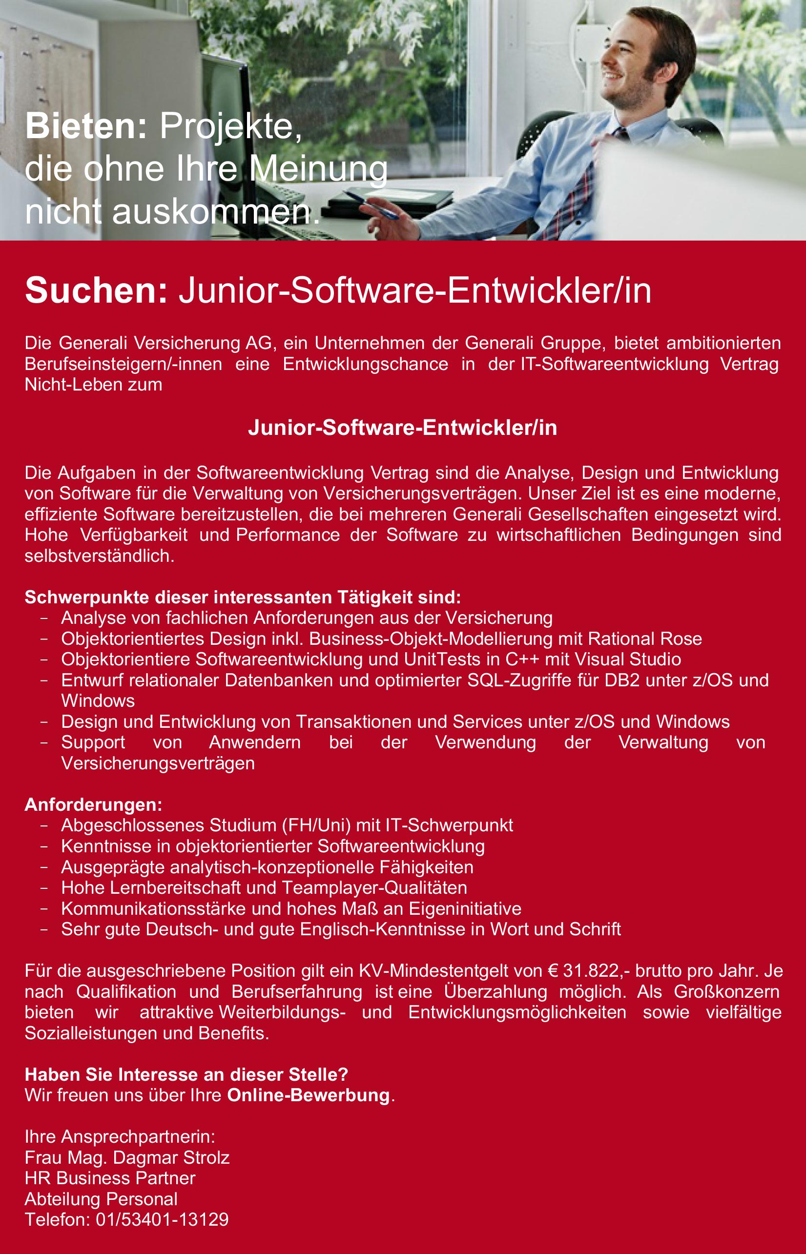 Generali Versicherung Stellenangebot Junior Software-Entwickler/in